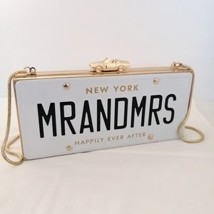 Kate Spade mr and mrs wedding license plate clutch